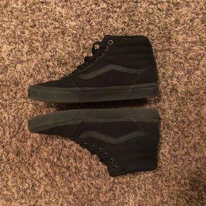 Black Vans (mid rise, size 8.5 men's, sneakers)